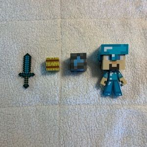 Minecraft Steve figure 2 blocks and sword